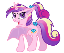 Size: 1200x1000 | Tagged: artist:kuromi, bat pony, butt wings, fangs, glare, looking at you, looking back, lovebat, open mouth, plot, pony, ponytail, princess cadance, race swap, safe, simple background, smirk, solo, spread wings, tail bow, teen princess cadance, transparent background, vector