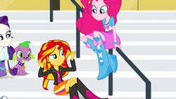 Size: 1280x720 | Tagged: safe, screencap, pinkie pie, rarity, spike, sunset shimmer, dog, equestria girls, rainbow rocks, balloon, boots, bracelet, clothes, high heel boots, jewelry, out of context, skirt, spike the dog