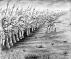Size: 2887x2379 | Tagged: safe, artist:raedin, armor, flag, frown, glare, gritted teeth, helmet, lord of the rings, monochrome, mouth hold, return of the king, riders of rohan, rohan, running, shield, spear, sword, theoden, traditional art, unshorn fetlocks, war, weapon