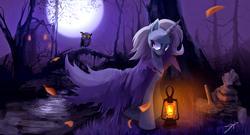 Size: 6644x3601   Tagged: safe, artist:jokerpony, trixie, owl, pony, unicorn, absurd resolution, crying, female, lantern, mare, night, solo