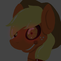 Size: 500x500 | Tagged: safe, applejack, robot, five nights at aj's, animatronic, applefreddy, crazy face, creepypasta, faic, five nights at freddy's, glowing eyes, solo