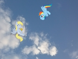 Size: 2592x1944 | Tagged: safe, artist:ocarina0ftimelord, artist:tokkazutara1164, derpy hooves, rainbow dash, pegasus, pony, eating, female, floating, irl, mare, muffin, photo, ponies in real life, sky, vector
