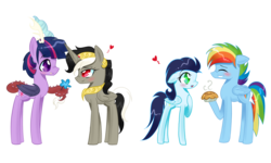 Size: 2072x1244 | Tagged: safe, artist:celinesparkle, discord, rainbow dash, soarin', twilight sparkle, alicorn, draconequus, pony, discolight, draconequified, dusk shine, duskeris, eris, female, flower, male, pie, ponified, princess discord, rainbow blitz, role reversal, rule 63, shipping, soarindash, straight, that pony sure does love pies, twikonequus, twilight sparkle (alicorn)