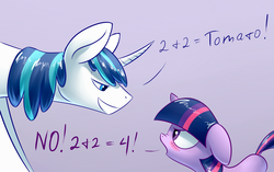 Size: 1748x1097 | Tagged: safe, artist:underpable, shining armor, twilight sparkle, pony, unicorn, argument, blushing, brother and sister, brothers gonna brother, cute, dock, female, filly, filly twilight sparkle, floppy ears, glare, grin, male, math, mathematics in the comments, nose wrinkle, siblings, smirk, teasing, trolling, twilight is not amused, unamused, underpable is trying to murder us, unicorn twilight, we never had one single fight, younger
