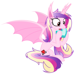 Size: 6000x6000 | Tagged: absurd res, alternate cutie mark, artist:magister39, bat ponified, bat pony, crystal heart, cute little fangs, fangs, lovebat, nom, open mouth, pony, princess cadance, race swap, safe, simple background, sitting, solo, spread wings, transparent background, vector, wide eyes