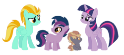 Size: 1044x468 | Tagged: safe, artist:unoriginai, lightning dust, twilight sparkle, oc, alicorn, pony, unicorn, blank flank, colt, crack shipping, cute, family, female, filly, foal, magical lesbian spawn, male, mare, offspring, parent:lightning dust, parent:twilight sparkle, parents:twidust, twidust, twilight sparkle (alicorn)