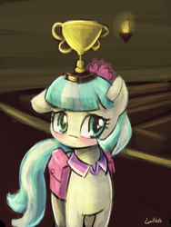 Size: 1440x1920 | Tagged: safe, artist:lumineko, coco pommel, earth pony, pony, 30 minute art challenge, balancing, blushing, cocobetes, cute, female, floppy ears, looking at you, mare, pixiv, saddle bag, shy, solo, trophy, trophy waifu