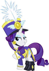 Size: 3997x5860 | Tagged: absurd res, ancient wonderbolts uniform, artist:irisiter, boots, clothes, female, hat, mare, pony, rarity, safe, sgt. rarity, shako, shoes, simple background, solo, testing testing 1-2-3, transparent background, unicorn, uniform, vector