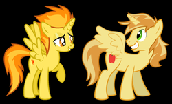 Size: 1024x619 | Tagged: alicorn, artist:3d4d, braeburn, braecorn, everyone is an alicorn, female, male, pony, race swap, safe, shipping, spitburn, spitfire, spitfirecorn, straight