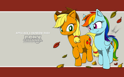Size: 1920x1200 | Tagged: safe, artist:fuzon-s, applejack, rainbow dash, fall weather friends, crossover, leaves, pony channel, running, running of the leaves, scene interpretation, sketch, smiling, sonic channel, sonic the hedgehog (series), style emulation, wallpaper, yuji uekawa style