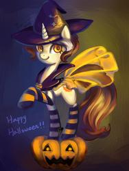 Size: 600x800 | Tagged: safe, artist:erica693992, oc, oc only, pony, unicorn, clothes, halloween, hat, jack-o-lantern, pumpkin, socks, solo, striped socks, witch hat