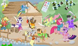 Size: 801x481 | Tagged: safe, artist:shutterflye, applejack, derpy hooves, dumbbell, fluttershy, gilda, hoops, pinkie pie, quarterback, rainbow dash, rarity, twilight sparkle, oc, earth pony, fish, griffon, parasprite, pegasus, pony, unicorn, archer dash, arrow, badass, bipedal, bow (weapon), bow and arrow, clothes, crossover, fire, flag, flower, flutterbadass, gun, hat, house, legend of the five rings, mane six, pinkamena diane pie, samurai, score, spear, sword, water, weapon