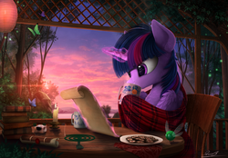 Size: 2500x1740 | Tagged: safe, artist:yakovlev-vad, twilight sparkle, alicorn, butterfly, firefly (insect), mosquito, parasprite, pony, art, blanket, book, candle, chest fluff, coffee mug, comfy, cookie, female, fluffy, food, incense, inkwell, lake, lantern, levitation, magic, mare, mountain, mug, reading, russian, scenery, scenery porn, scroll, sky, solo, table, tea, telekinesis, tree, twilight sparkle (alicorn), water