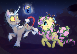 Size: 1241x877 | Tagged: safe, artist:c-puff, discord, fluttershy, alicorn, pegasus, pony, branches, candy, candy bag, candy cane, clothes, costume, cute, dark, digital art, discute, duo, duo male and female, egg, fangs, female, food, leaves, levitation, looking at each other, magic, male, mare, nest, night, night sky, nightmare night, nightmare night costume, open mouth, ponified, pony discord, shyabetes, sky, smiling, stallion, stars, stick, telekinesis, tree, trotting