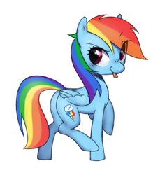 Size: 539x589   Tagged: safe, artist:30clock, rainbow dash, pegasus, pony, :p, cute, dashabetes, eye clipping through hair, female, mare, plot, simple background, solo, tongue out, white background