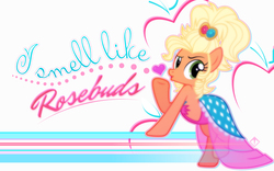 Size: 2560x1600 | Tagged: safe, artist:discorded, artist:kibbiethegreat, applejack, alternate hairstyle, applejewel, blowing a kiss, clothes, dress, heart, pose, quote, vector, wallpaper