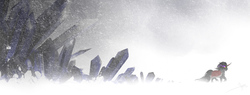 Size: 1280x485 | Tagged: safe, artist:bgn, king sombra, blizzard, cape, clothes, crystal, snow, snowfall