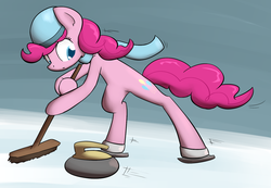 Size: 1537x1066 | Tagged: safe, artist:whatsapokemon, pinkie pie, clothes, curling, ice skates, scarf, solo, winter
