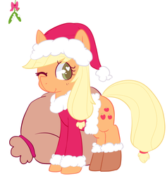 Size: 821x866 | Tagged: dead source, safe, artist:pegacornss, applejack, boots, clothes, hat, mistletoe, santa costume, santa hat, secret santa, solo, wink
