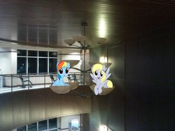 Size: 2048x1536 | Tagged: safe, artist:stillfire, artist:thisismyphotoshoppin, artist:tokkazutara1164, derpy hooves, rainbow dash, pegasus, pony, building, ceiling, ceiling light, chair, female, irl, mare, photo, ponies in real life, sitting, vector