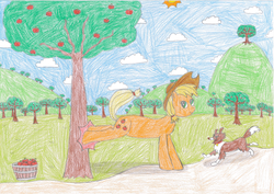 Size: 2338x1653 | Tagged: applebucking, applejack, apple tree, artist:epicalaxy master, barrel, colored, drawing, safe, traditional art, tree, winona