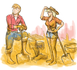 Size: 1280x1171 | Tagged: safe, artist:king-kakapo, applejack, big macintosh, human, barefoot, boots, bucket, clothes, dirt, dirty, dirty feet, feet, humanized, mud, shorts, shovel