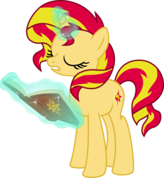 Size: 6183x6703 | Tagged: safe, artist:lunarina, sunset shimmer, pony, unicorn, absurd resolution, book, female, journey book, magic, simple background, solo, transparent background, vector