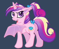 Size: 1200x1000 | Tagged: artist:kuromi, bat pony, fangs, glare, looking at you, looking back, lovebat, open mouth, plot, pony, ponytail, princess cadance, race swap, safe, smirk, solo, spread wings, tail bow, teen princess cadance, tumblr