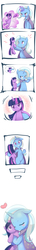 Size: 1200x8292 | Tagged: safe, artist:siagia, trixie, twilight sparkle, pony, unicorn, :p, bipedal, blushing, cape, clothes, comic, concentrating, cute, daaaaaaaaaaaw, diatrixes, eyes closed, female, floppy ears, glowing horn, good end, happy, heart, high res, hnnng, horn, hug, lesbian, levitation, magic, mare, missing accessory, missing cutie mark, needle, plushie, sewing, shipping, silly, simple background, smiling, standing, sweat, telekinesis, thought bubble, tongue out, trixie's cape, twixie, wavy mouth, white background