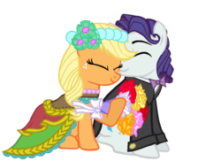 Size: 967x705 | Tagged: alternate hairstyle, applejack, applelusive (straight), artist:dilemmas4u, bouquet, bowtie, clothes, dress, elusive, female, half r63 shipping, male, rarijack, rarity, rule 63, safe, shipping, simple background, straight, transparent background