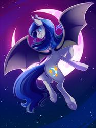 Size: 720x960 | Tagged: safe, artist:duskyamore, oc, oc only, oc:clarity dream, bat pony, pony, bat pony oc, bat wings, blue eyes, crescent moon, ear fluff, fangs, female, flying, frog (hoof), grin, looking at you, looking back, looking back at you, mare, moon, night, night sky, rear view, sky, slit eyes, smiling, solo, spread wings, starry night, underhoof, wings
