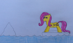 Size: 2484x1468 | Tagged: artist:epicalaxy master, crying, drawing, fluttershy, ice, iceberg, safe, solo, traditional art, water