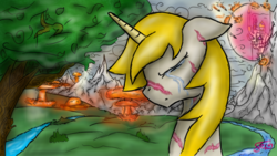 Size: 1280x720 | Tagged: safe, artist:setharu, oc, oc only, oc:goldenblood, pony, unicorn, fallout equestria, fallout equestria: project horizons, bust, canterlot, cloud, crying, explosion, male, mountain, outdoors, portrait, river, signature, solo, stallion, tree, war