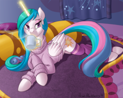 Size: 895x714 | Tagged: safe, artist:brianblackberry, princess celestia, alicorn, pony, bed, bedroom eyes, bottomless, clothes, cup, drink, drinking, eyeshadow, female, glowing horn, looking at you, magic, mare, partial nudity, socks, solo, sweater