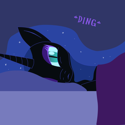 Size: 1000x1000 | Tagged: safe, artist:azurek, nightmare moon, ask princess moon, bed, female, solo, tumblr
