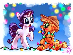 Size: 1280x971 | Tagged: safe, artist:whitediamonds, applejack, rarity, pony, blushing, christmas lights, female, floppy ears, gritted teeth, holiday, lesbian, mouth hold, nose wrinkle, open mouth, rarijack, rarijack daily, shipping, silly, silly pony, sitting, sweatdrop, tangled up, underhoof, who's a silly pony, winter, you had one job