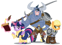 Size: 1200x869   Tagged: safe, artist:pixelkitties, applejack, iron will, twilight sparkle, alicorn, pony, armor, crossover, dragon age, dragon age: inquisition, eyepatch, female, levitation, magic, magic aura, male, mare, nose piercing, nose ring, piercing, quill, shield, simple background, sword, telekinesis, the iron bull, transparent background, trio, twilight sparkle (alicorn), weapon