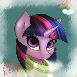 Size: 2400x2400 | Tagged: safe, artist:captainpudgemuffin, twilight sparkle, pony, unicorn, blushing, christmas, clothes, female, looking at you, mare, mistletoe, scarf, solo