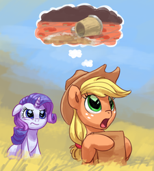 Size: 925x1030   Tagged: safe, artist:carnifex, applejack, rarity, earth pony, pony, unicorn, annoyed, cider, female, floppy ears, frown, glare, lesbian, mug, open mouth, rarijack, rarijack daily, shipping, sitting, spilled drink, spongebob squarepants, style emulation, the inner machinations of my mind are an enigma, the secret box