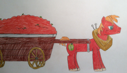 Size: 2344x1348 | Tagged: apple, apple cart, artist:epicalaxy master, big macintosh, drawing, earth pony, male, pony, safe, solo, stallion, traditional art