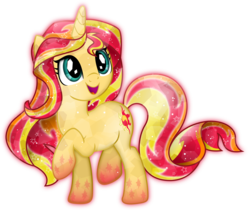 Size: 4175x3500 | Tagged: safe, artist:theshadowstone, sunset shimmer, crystal pony, pony, unicorn, crystallized, cute, female, open mouth, rainbow power, rainbow power-ified, raised hoof, shimmerbetes, simple background, solo, transparent background, vector