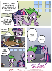 Size: 4903x6646   Tagged: safe, artist:redapropos, spike, twilight sparkle, alicorn, pony, comic:maybe later spike, absurd resolution, book, comic, female, ironic echo, mare, title drop, twilight sparkle (alicorn), wingless, wink