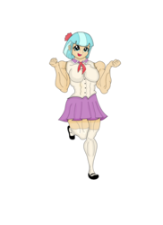 Size: 1700x2338 | Tagged: artist:pandatarius, clothes, coco pommel, coco pumpel, equestria girls, fit, humanized, muscles, safe, simple background, skirt, solo, transparent background