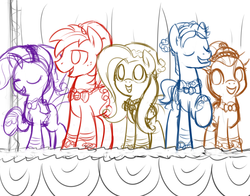Size: 3450x2700 | Tagged: artist:chiramii-chan, big macintosh, earth pony, fluttershy, male, pony, ponytones, rarity, safe, sketch, stallion, toe-tapper, torch song, wip
