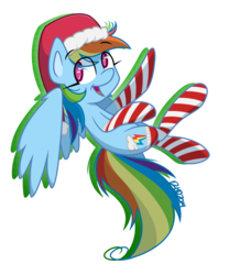 Size: 2011x2421 | Tagged: artist:dahhez, clothes, flying, hat, rainbow dash, safe, santa hat, socks, solo, striped socks