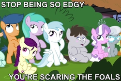 Size: 720x480 | Tagged: aura (character), boysenberry, braid, bush, caption, colt, cotton cloudy, diamond tiara, edgy, filly, first base, foal, frown, gallop j. fry, glasses, image macro, looking up, meme, peach fuzz, reaction image, safe, scared, screencap, silver spoon, sitting, truffle shuffle, twilight time, wide eyes
