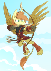 Size: 1300x1800 | Tagged: archery, armor, arrow, artist:equestria-prevails, bow and arrow, bow (weapon), hippogriff, hybrid, oc, oc only, oc:overdraw, original species, safe, solo, weapon