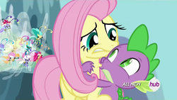 Size: 1280x720 | Tagged: all new, artist:dtkraus, breezie, edit, fluttershy, hickey, hub logo, safe, screencap, spike, sucking, wat