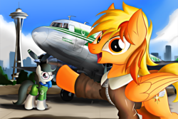 Size: 5184x3456 | Tagged: safe, artist:ruhisu, oc, oc only, oc:brave wing, oc:front page, pegasus, pony, airline, c-47, clothes, dakota, dc3, everfree northwest, female, jacket, male, mare, packground, pilot, seattle, skirt, smiling, space needle, stallion, stewardess, tower, uniform