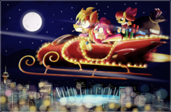 Size: 3438x2256 | Tagged: safe, artist:ruhisu, apple bloom, pinkie pie, oc, oc:brave wing, andrea libman, candy cane, christmas, gift art, happy, jet, lights, michelle creber, package, present, sleigh, turbo, vancouver, vanhoover